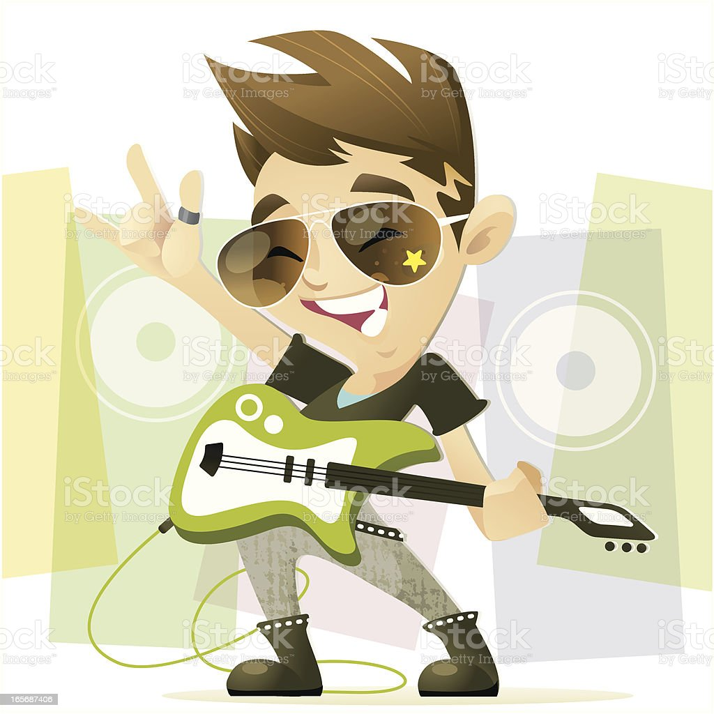 RockStar Boy vector art illustration