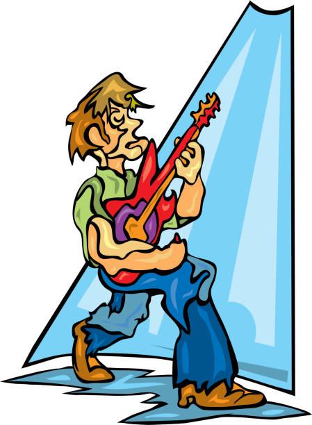 Rockstar playing electric guitar in spotlight vector art illustration