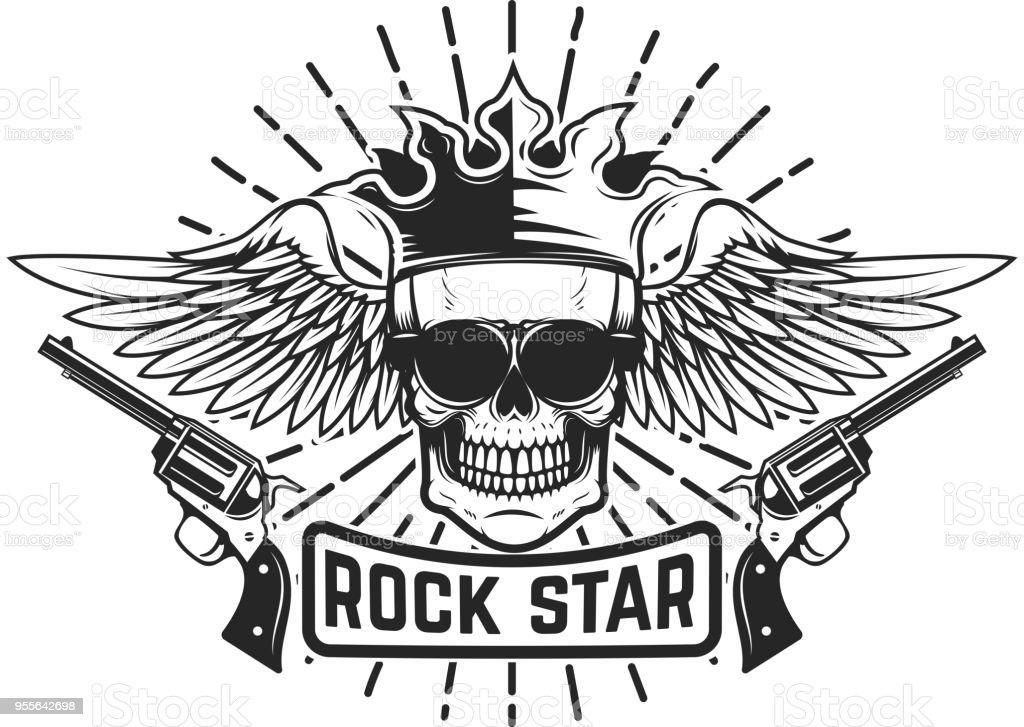 Estrella del rock. Calavera alada con corona y armas de fuego. Elemento de diseño para la etiqueta, emblema, signo. - ilustración de arte vectorial