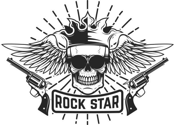 ilustraciones, imágenes clip art, dibujos animados e iconos de stock de estrella del rock. calavera alada con corona y armas de fuego. elemento de diseño para la etiqueta, emblema, signo. - tatuajes de ángeles