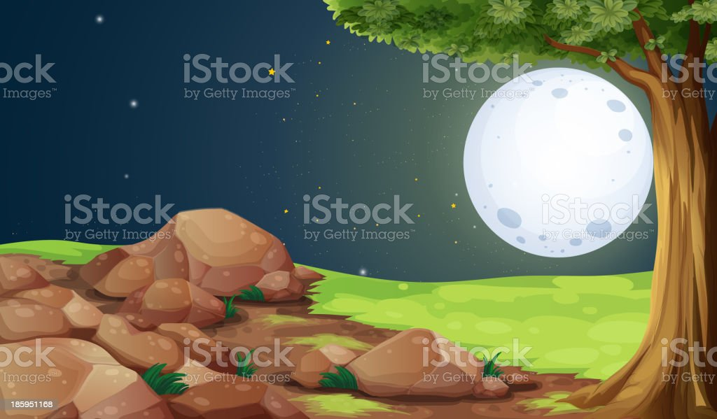 rocky forest under the bright fullmoon royalty-free stock vector art