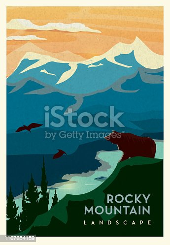 Vector illustration of a Rocky Mountain and cliff with Grizzly Bear and waterbed scenic landscape poster design with text. Vintage texture overlay. Fully editable EPS 10.
