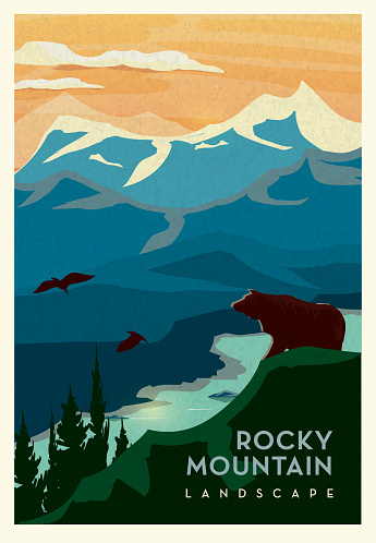 Rocky Mountain and cliff with Grizzly Bear and waterbed scenic landscape poster design with text