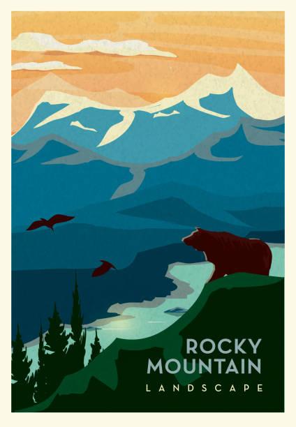 ilustraciones, imágenes clip art, dibujos animados e iconos de stock de montañas rocosas y acantilado con oso grizzly y diseño de cartel escénico de paisaje en cama de agua con texto - viaje a canadá
