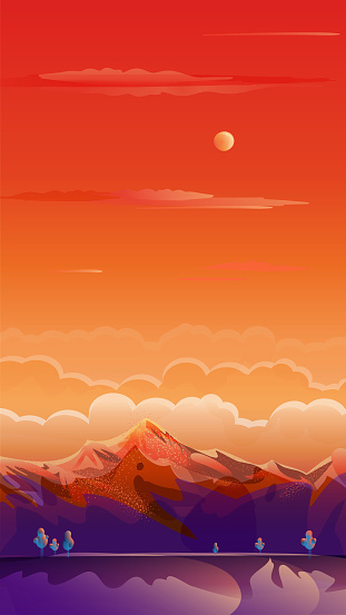 Rocky Mountains Rising of The Sun, Exotic Paradise Landscape, Auto Post Production Filter, Vector Illustration