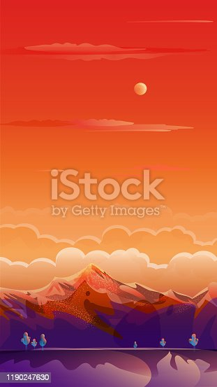Rocky Mountains Rising of The Sun, Exotic Paradise Landscape. Rural fields, rugged mountains, road, campgrounds. Romantic Summer sunset sky clouds painting poster. Adventure in Nature, Traveling, Voyage, Brazil, Sunrise Gradient sign, flat design, Graphical User Interface, Social Media, Story Post background. Auto Post Production Filter. Abstract Vector illustration