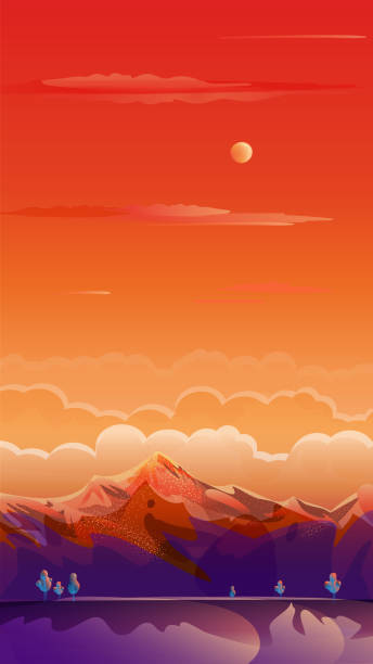 Rocky Mountains Rising of The Sun, Exotic Paradise Landscape, Auto Post Production Filter, Vector Illustration Rocky Mountains Rising of The Sun, Exotic Paradise Landscape. Rural fields, rugged mountains, road, campgrounds. Romantic Summer sunset sky clouds painting poster. Adventure in Nature, Traveling, Voyage, Brazil, Sunrise Gradient sign, flat design, Graphical User Interface, Social Media, Story Post background. Auto Post Production Filter. Abstract Vector illustration adventure borders stock illustrations
