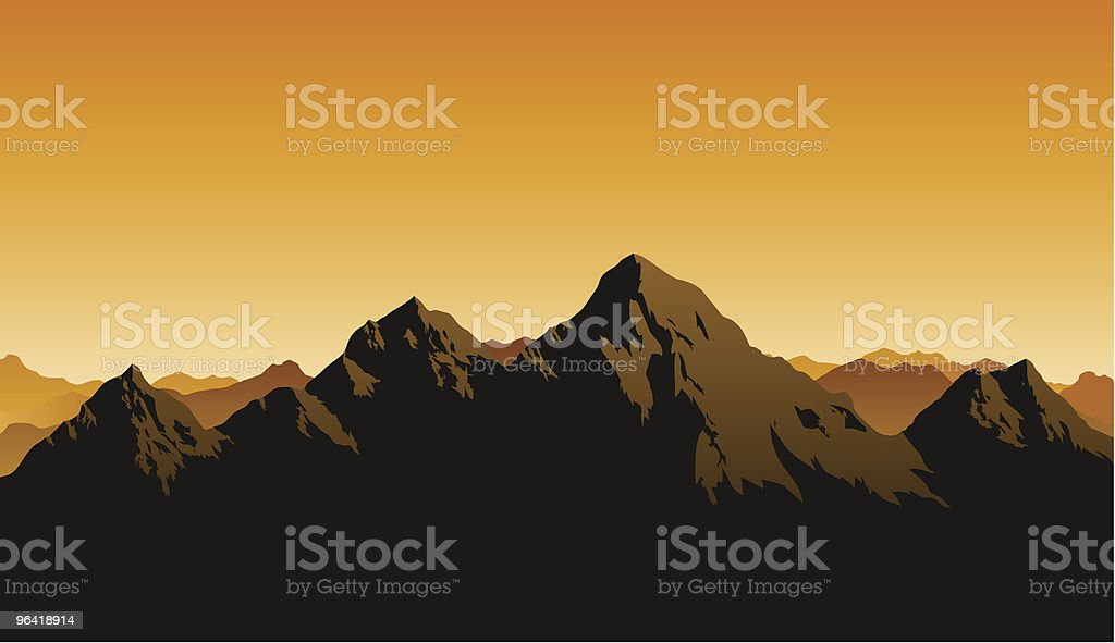 Rocky Mountains vector art illustration