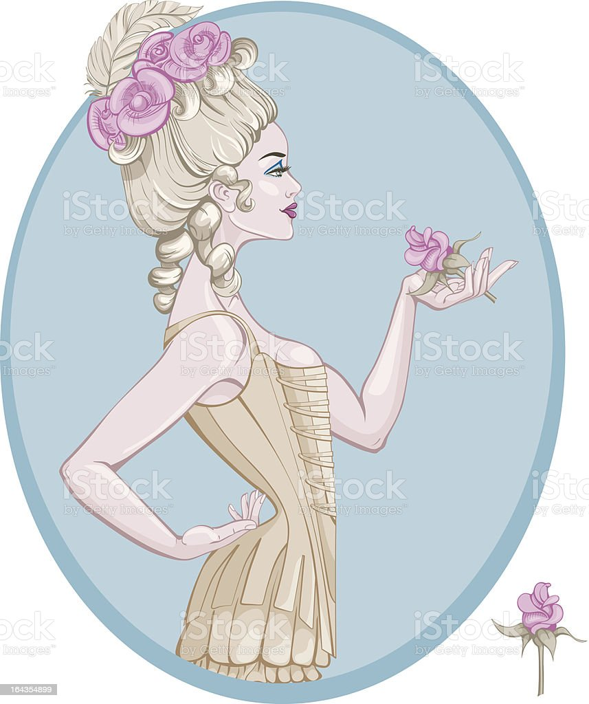 Rococo Style Young Woman Stock Illustration Download Image