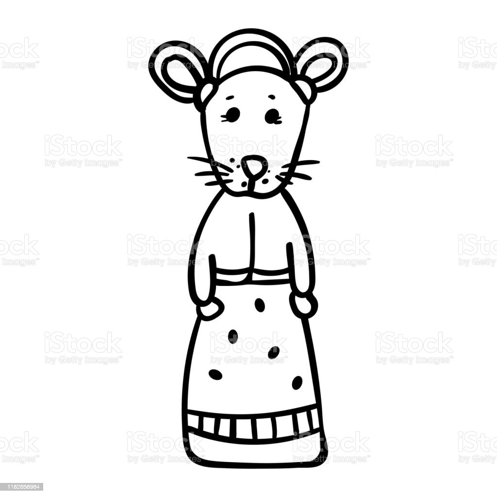 Rodent Girl Cute Animal In A Beautiful Dress Coloring Page ...
