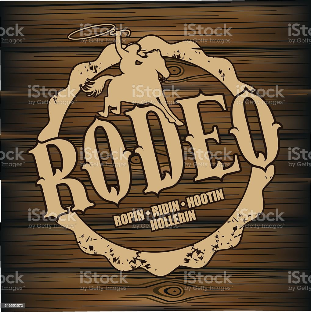 Rodeo brand design on wood background.