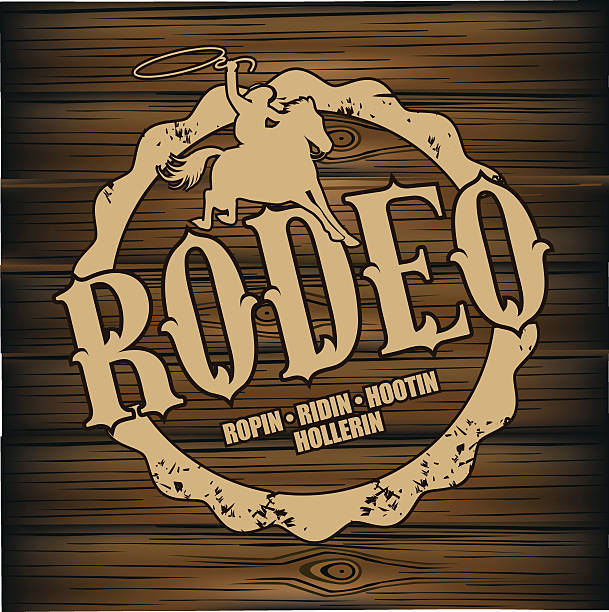 rodeo brand design on wood background. - rodeo stock illustrations, clip art, cartoons, & icons