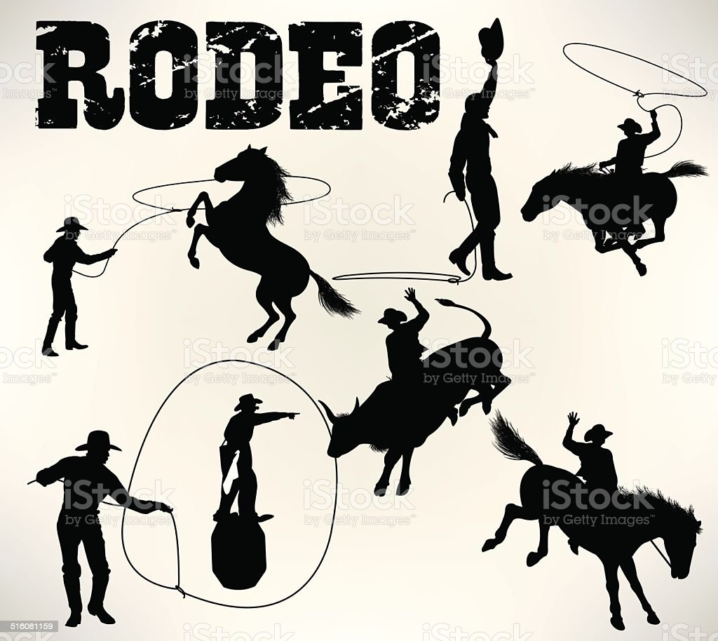 Rodeo, Bucking Bronco, Bull Riding vector art illustration