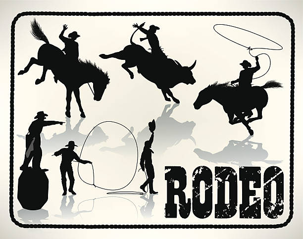 rodeo-bullenreiters, lasso, cowboy-clown - rodeo stock-grafiken, -clipart, -cartoons und -symbole