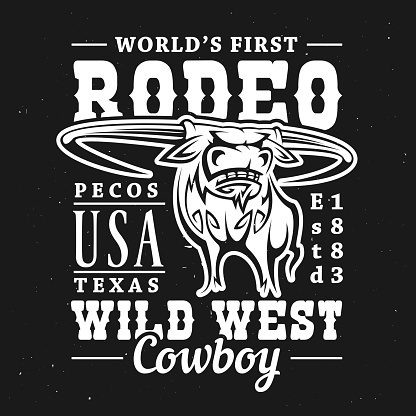 Rodeo bull with Wild West lettering. T-shirt print