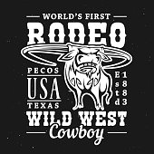Rodeo bull t-shirt print of longhorn cow or ox on black background with vector lettering Wild West Cowboy. Apparel fashion and uniform jersey of rodeo sport design