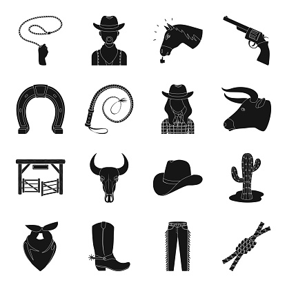 Rodeo, competition black icons in set collection for design. Cowboy and equipment vector symbol stock web illustration.