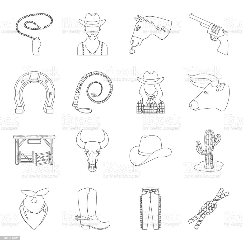 Rodeo, competition outline icons in set collection for design. Cowboy and equipment vector symbol stock web illustration. - Royalty-free Bandana stock vector
