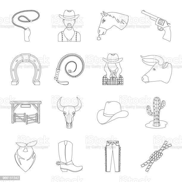 Rodeo Konkurrens Disposition Ikoner I Set Samling För Design Cowboy Och Utrustning Vektor Symbol Lager Web Illustration-vektorgrafik och fler bilder på Bandana
