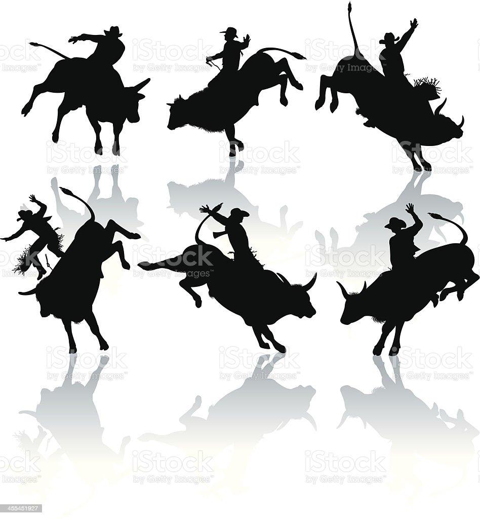Rodeo Cowboy, Bucking, Bull Riders vector art illustration