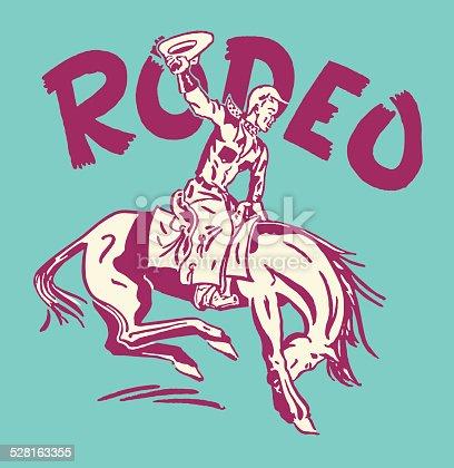 Rodeo Cowboy on Bucking Bronco