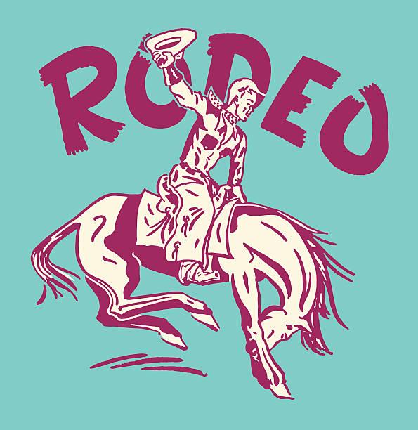 ilustraciones, imágenes clip art, dibujos animados e iconos de stock de rodeo vaquero en bucking bronco - rodeo