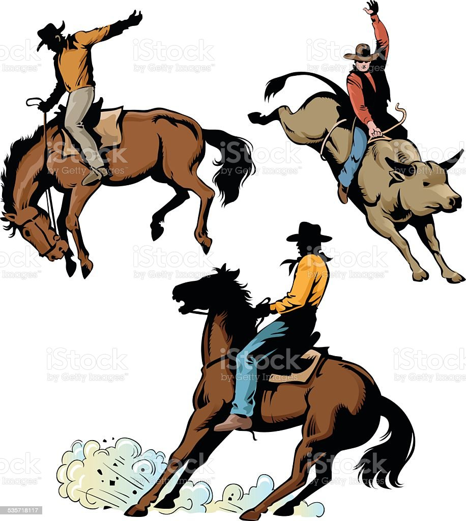 Rodeo Cowboys in Action