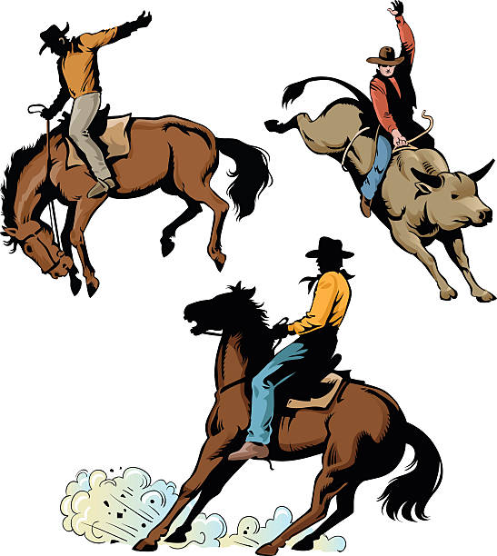 rodeo cowboys in action - rodeo stock illustrations, clip art, cartoons, & icons