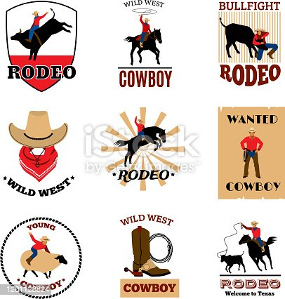 Cowboy rodeo games from mustang riding and bullfighting to lasso usage flat emblems set isolated vector illustration