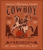 Rodeo poster with a cowboy sitting on  rearing horse in