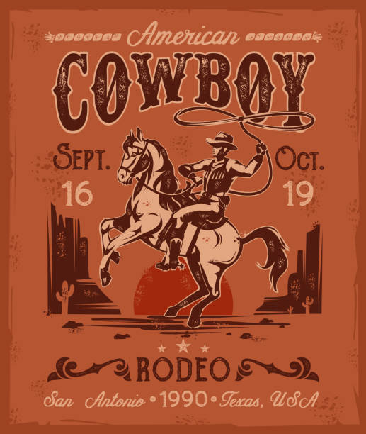 rodeo poster with a cowboy sitting on  rearing horse in - rodeo stock illustrations, clip art, cartoons, & icons