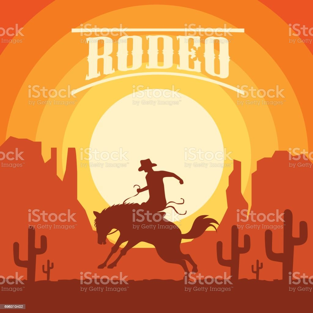 Rodeo Poster With Cowboy Silhouette Riding On Wild Horse And Bull Vector Illustration Stock Illustration Download Image Now Istock