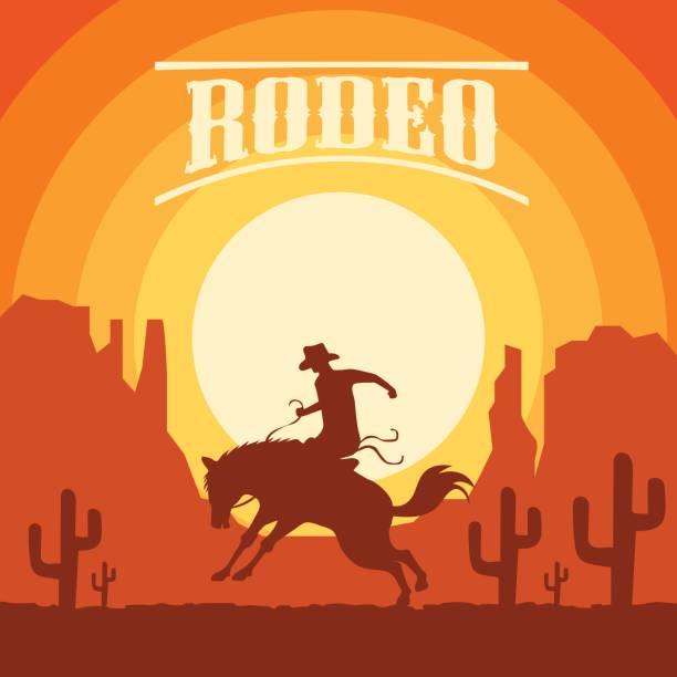 rodeo poster with cowboy silhouette riding on wild horse and bull. vector illustration rodeo poster with cowboy silhouette riding on wild horse and bull. vector illustration rancher illustrations stock illustrations
