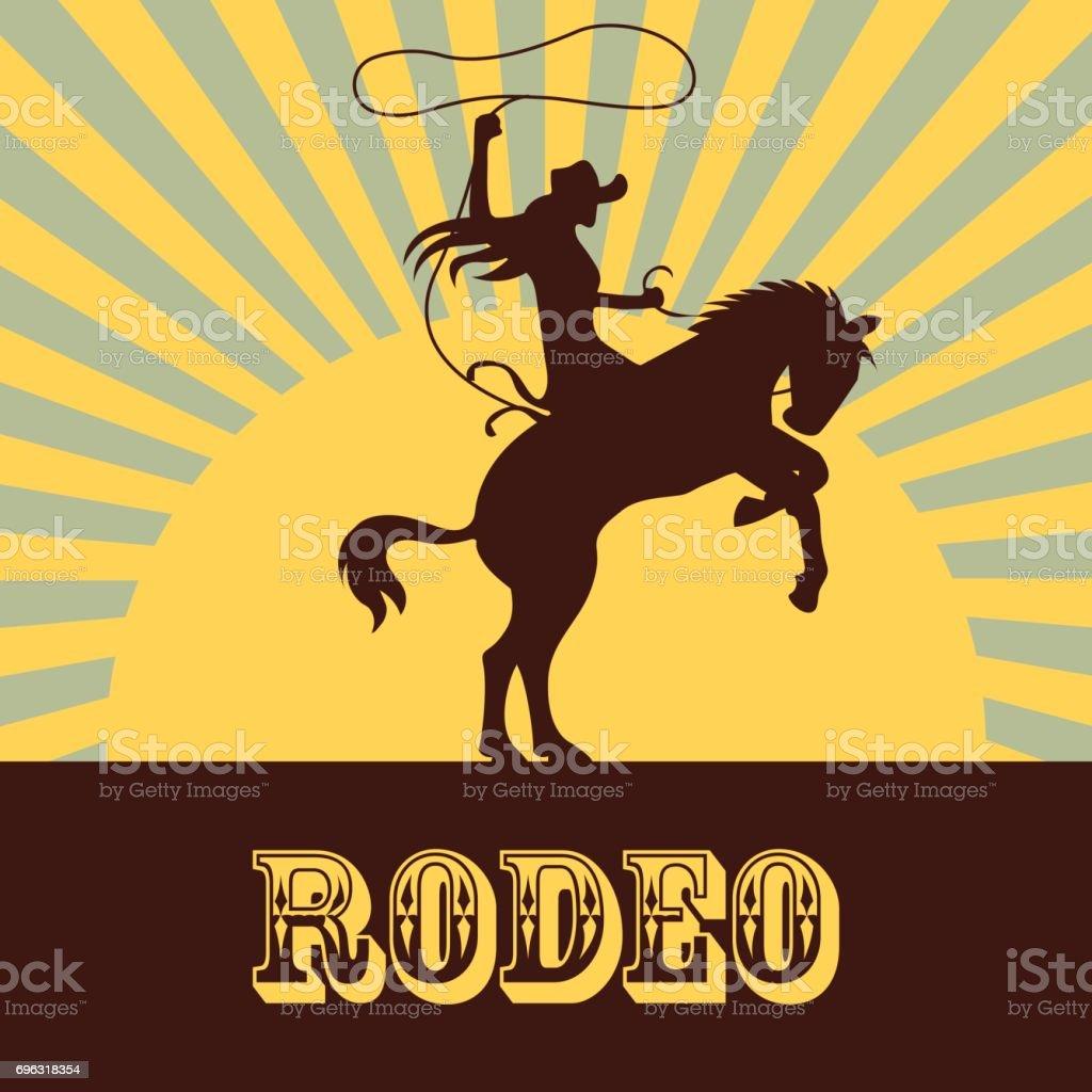 affiche de rodéo avec la silhouette de cow-girl à cheval sur le taureau et le cheval sauvage. illustration vectorielle - Illustration vectorielle
