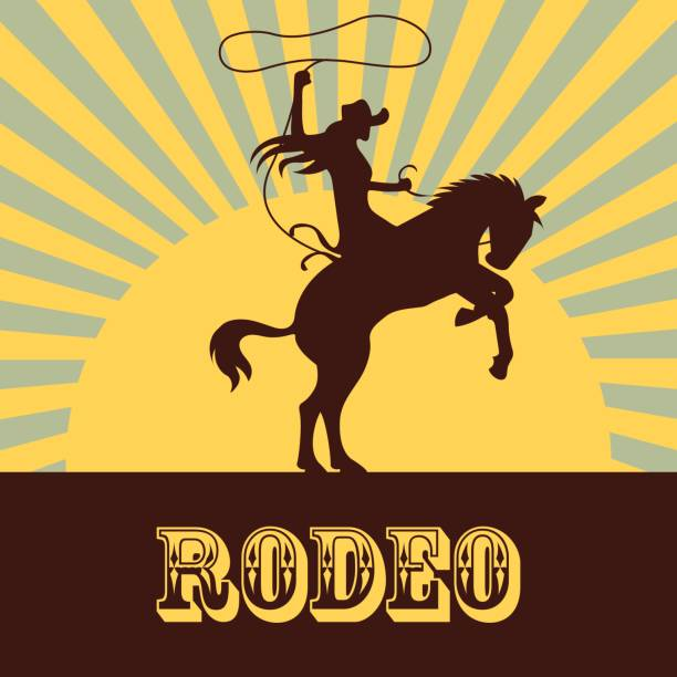 rodeo poster with cowgirl silhouette riding on wild horse and bull. vector illustration rodeo poster with cowgirl silhouette riding on wild horse and bull. vector illustration rancher illustrations stock illustrations