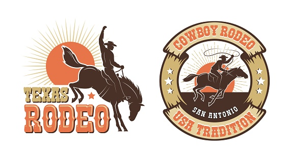 Rodeo retro emblem with cowboy horse rider silhouette