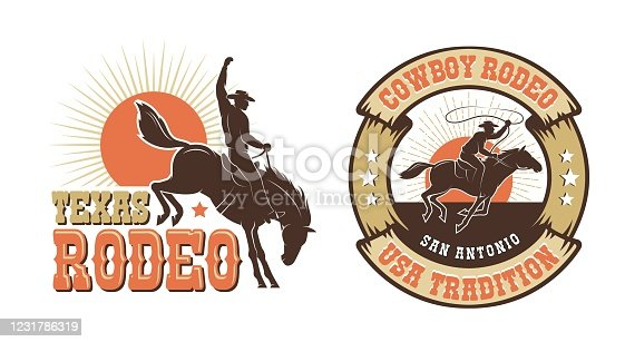 Rodeo retro emblem with cowboy horse rider silhouette. Wild west vintage rodeo badge. Vector illustration.