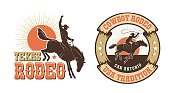 istock Rodeo retro emblem with cowboy horse rider silhouette 1231786319