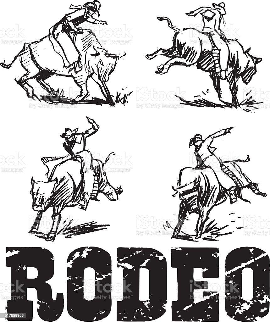 Rodeo Rider, Bucking Bronco vector art illustration