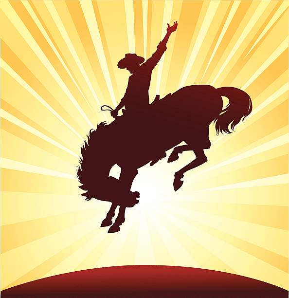 rodeo rider silhouette - rodeo stock illustrations, clip art, cartoons, & icons