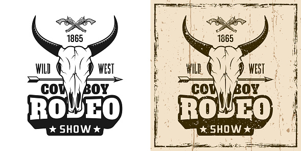 Rodeo show vector emblem, badge, label, logo or t-shirt print in two style monochrome and vintage colored