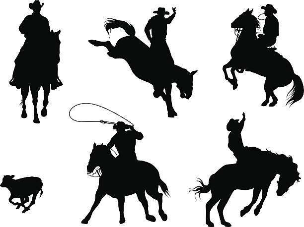 rodeo stars vector silhouette - rodeo stock illustrations, clip art, cartoons, & icons