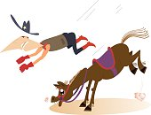 Man or cowboy falls from the horse
