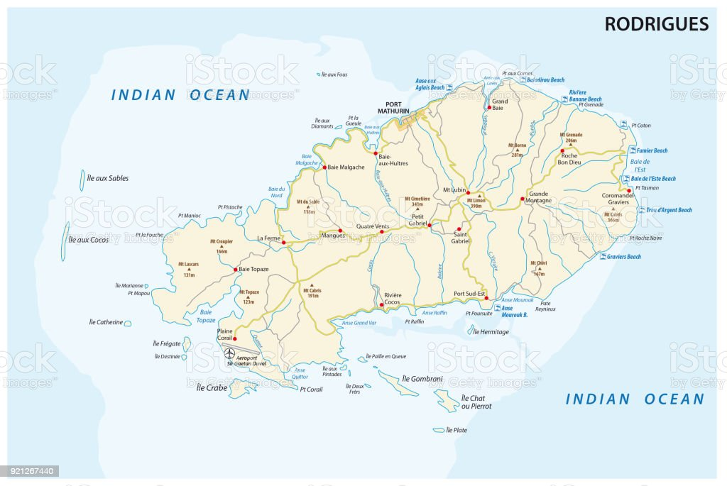 Rodrigues Island Road And Beach Map Stock Illustration