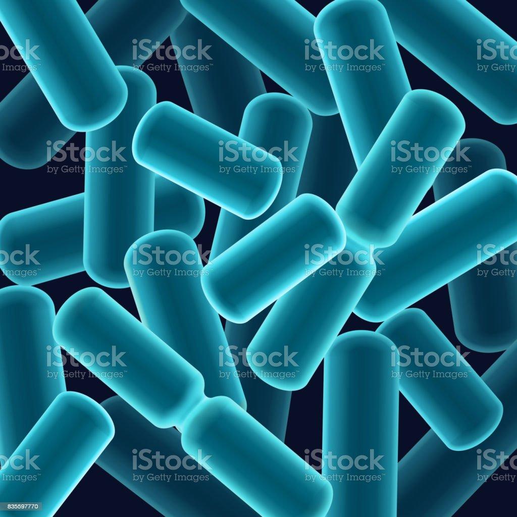 Rod-shaped bacilli bacteria vector art illustration