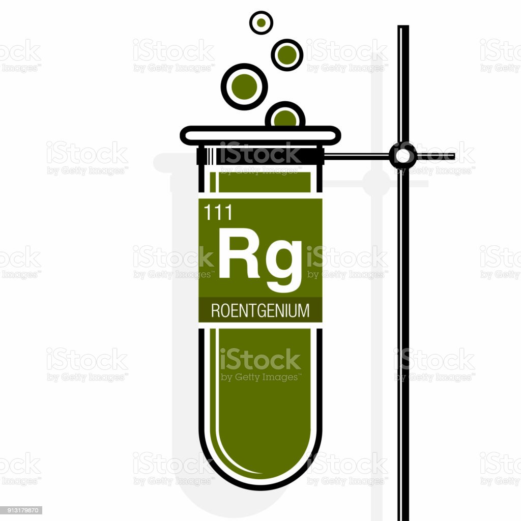 Roentgenium symbol on label in a green test tube with holder element periodic table roentgenium symbol on label in a green test tube with holder element number 111 of urtaz Gallery