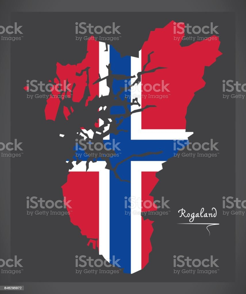 rogaland map of norway with norwegian national flag illustration
