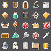 A set of Role Playing Game (RPG) icons. File is built in the CMYK color space for optimal printing. Color swatches are global so it's easy to edit and change the colors.