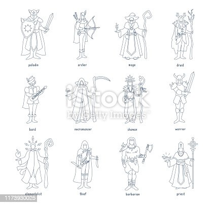 Armed heroes in costumes standing, posing. Vector illustration set isolated on white background.