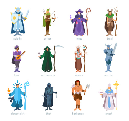 Role-playing game classes set.